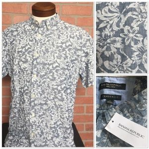 NWT Banana Republic Linen Hawaiian shirt L (4H39)